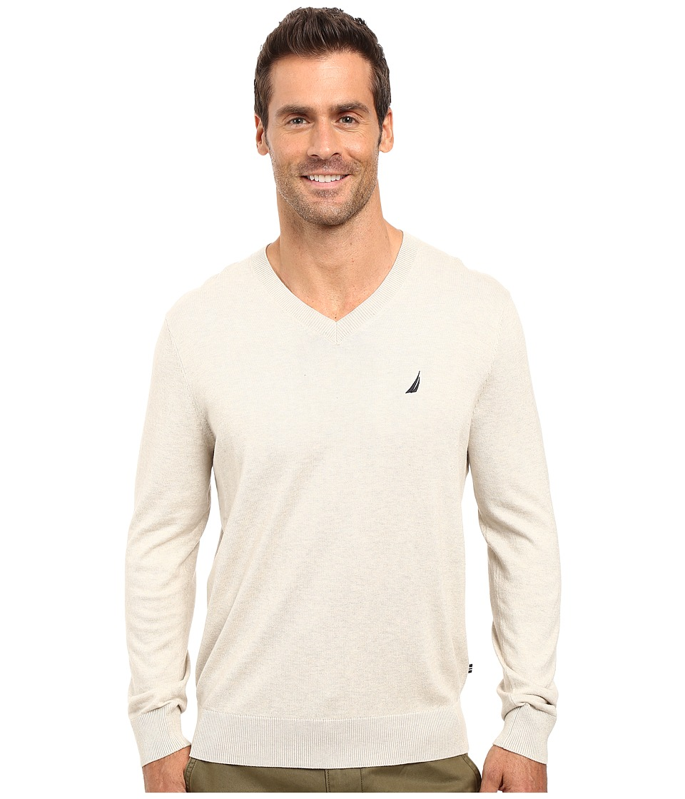 Nautica - Solid V-Neck Sweater (Oatmeal Heather) Men's Sweater
