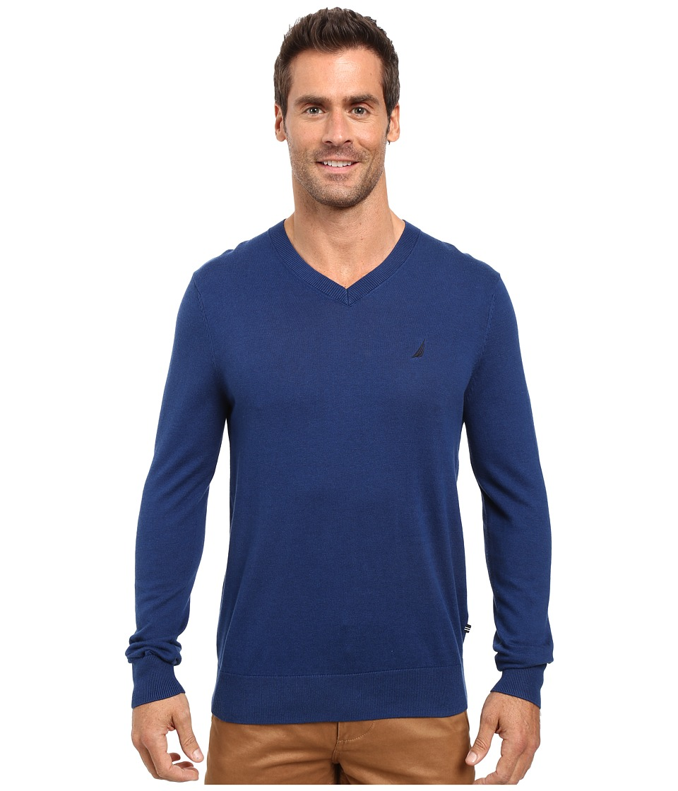 Nautica - Solid V-Neck Sweater (Estate Blue) Men's Sweater