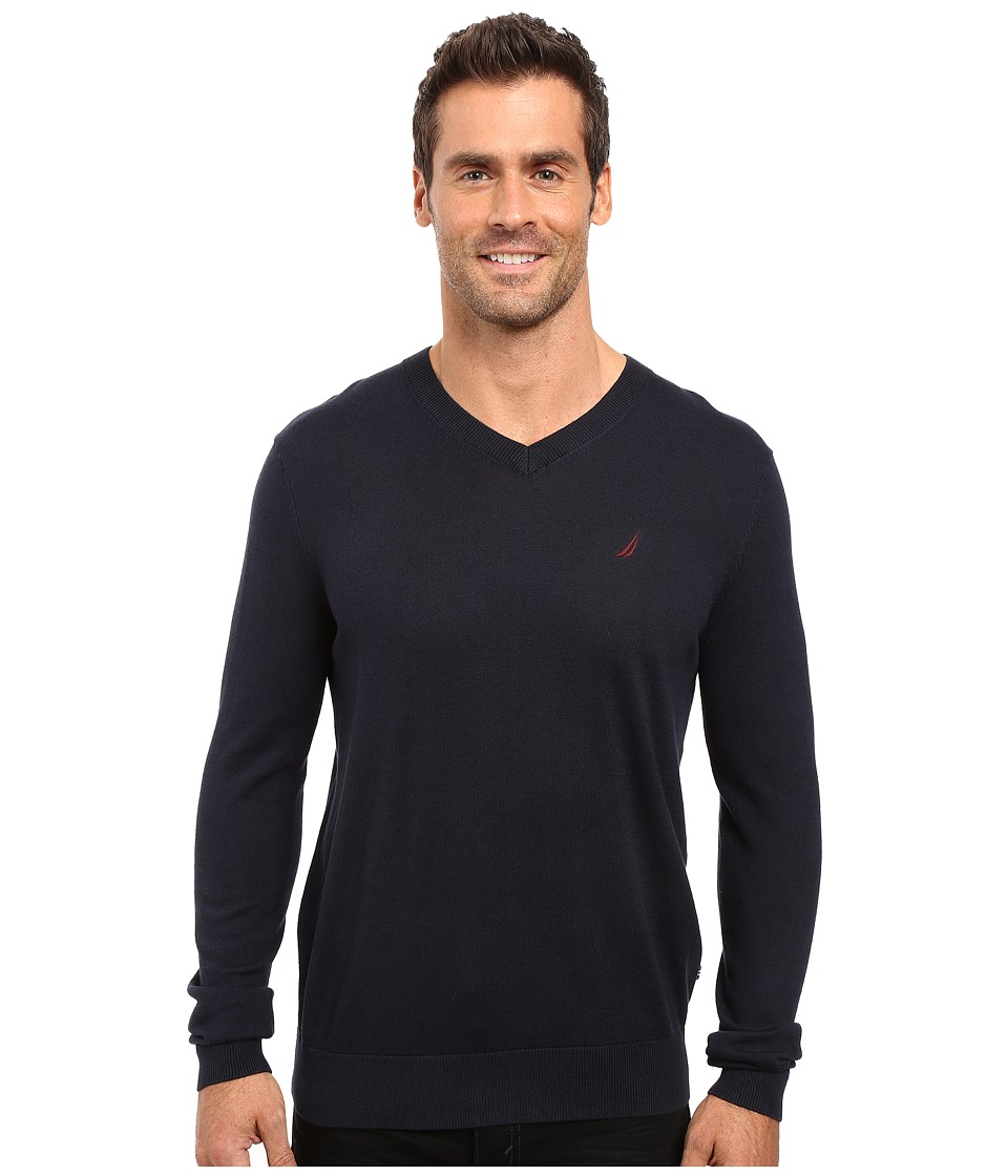 Nautica - Solid V-Neck Sweater (Navy) Men's Sweater