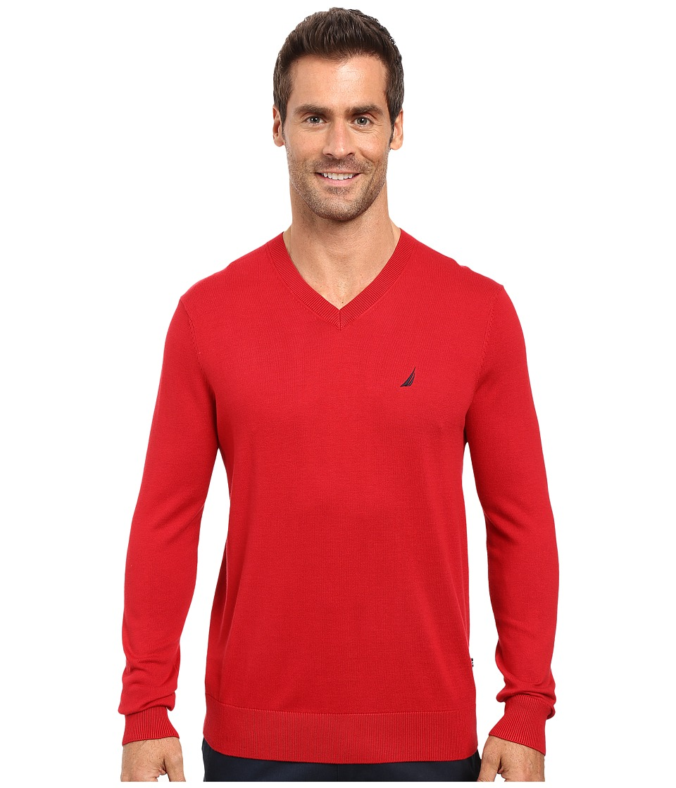 Nautica - Solid V-Neck Sweater (Nautica Red) Men's Sweater