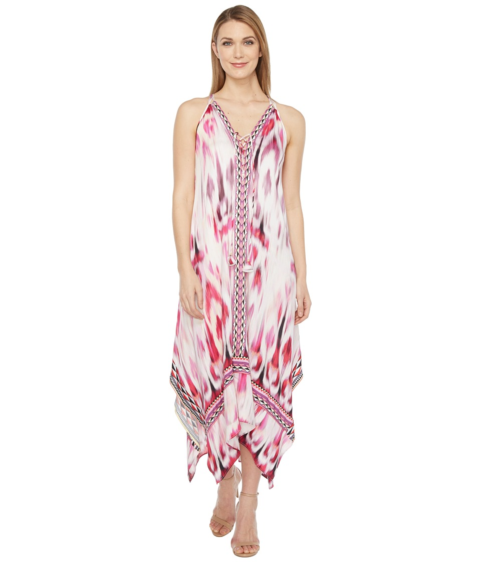Hale Bob - Sun Streaked Rayon Stretch Satin Maxi Dress (Red) Women's Dress