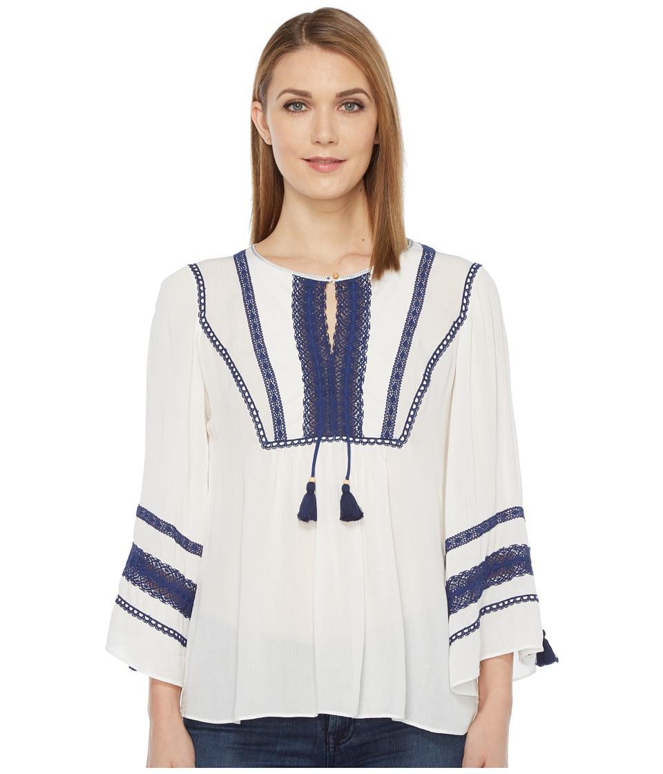 Hale Bob - Home Free Crinkle Rayon Gauze Top (Ivory) Women's Clothing