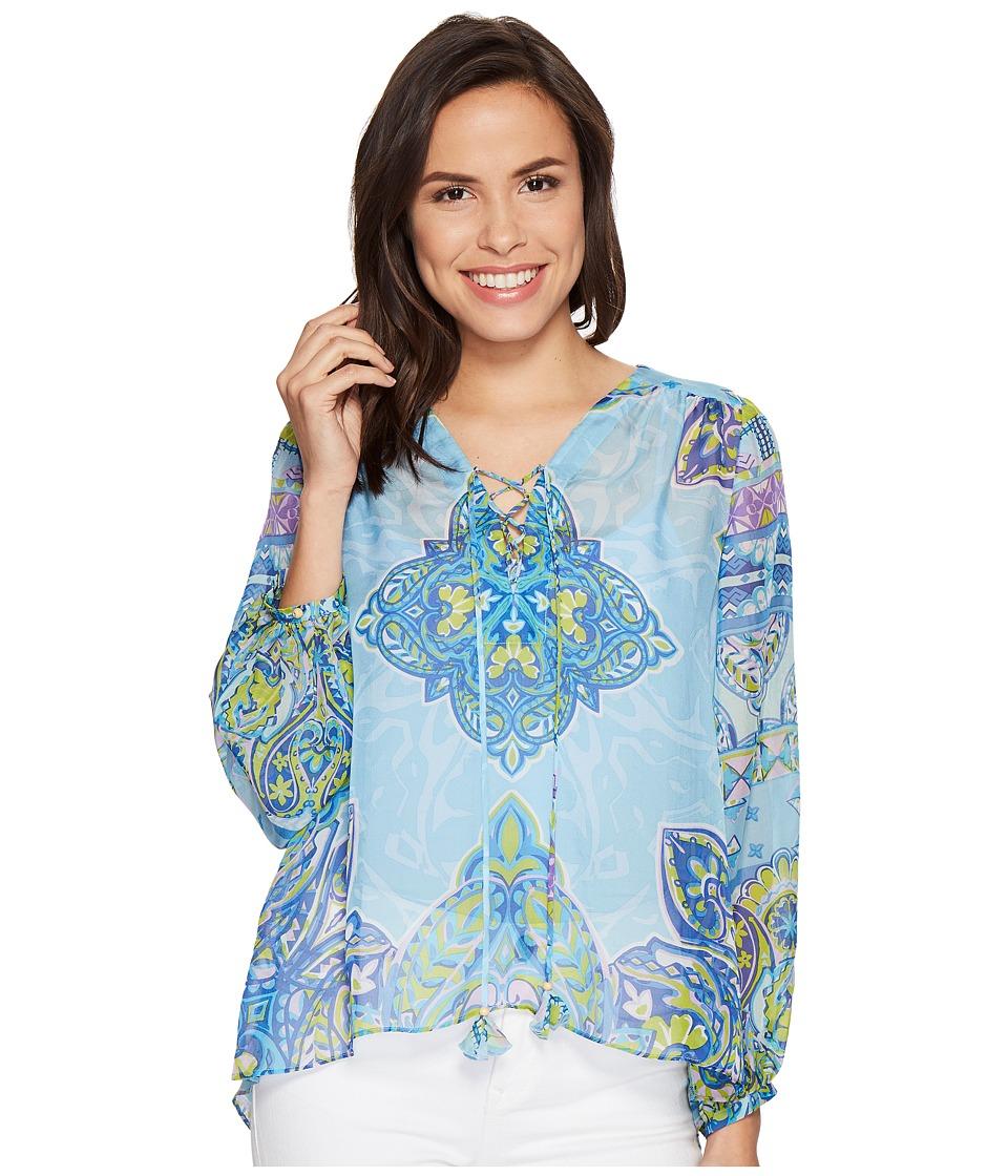 Hale Bob - Golden Age Washed Flat Silk Chiffon Top (Blue) Women's Clothing