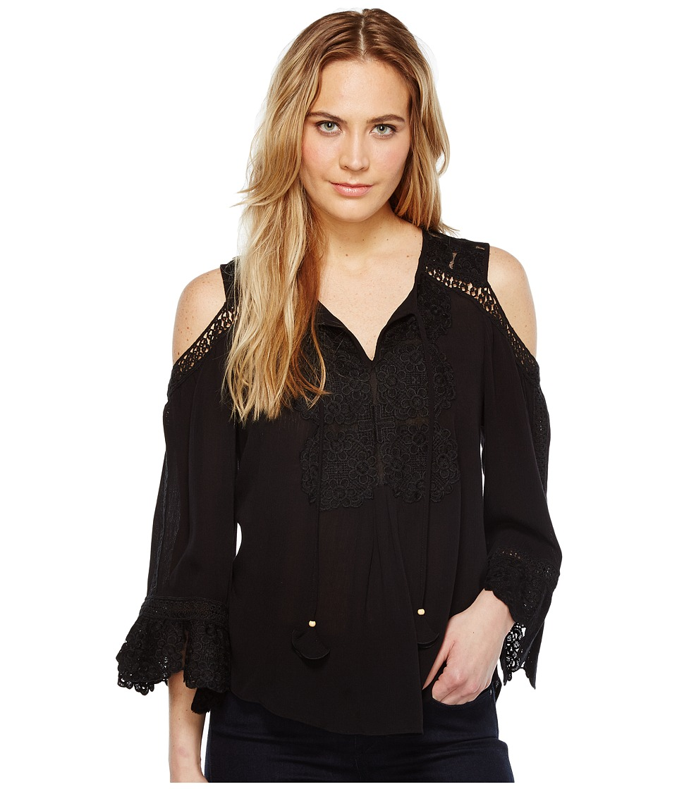 Hale Bob - Spring Roll Crinkle Rayon Gauze Cold Shoulder Top (Black) Women's Clothing