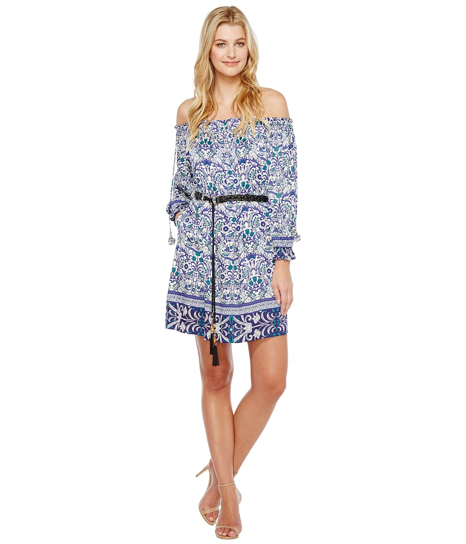 Hale Bob - All Mixed Up Rayon Stretch Satin Off Shoulder Dress (Blue) Women's Dress