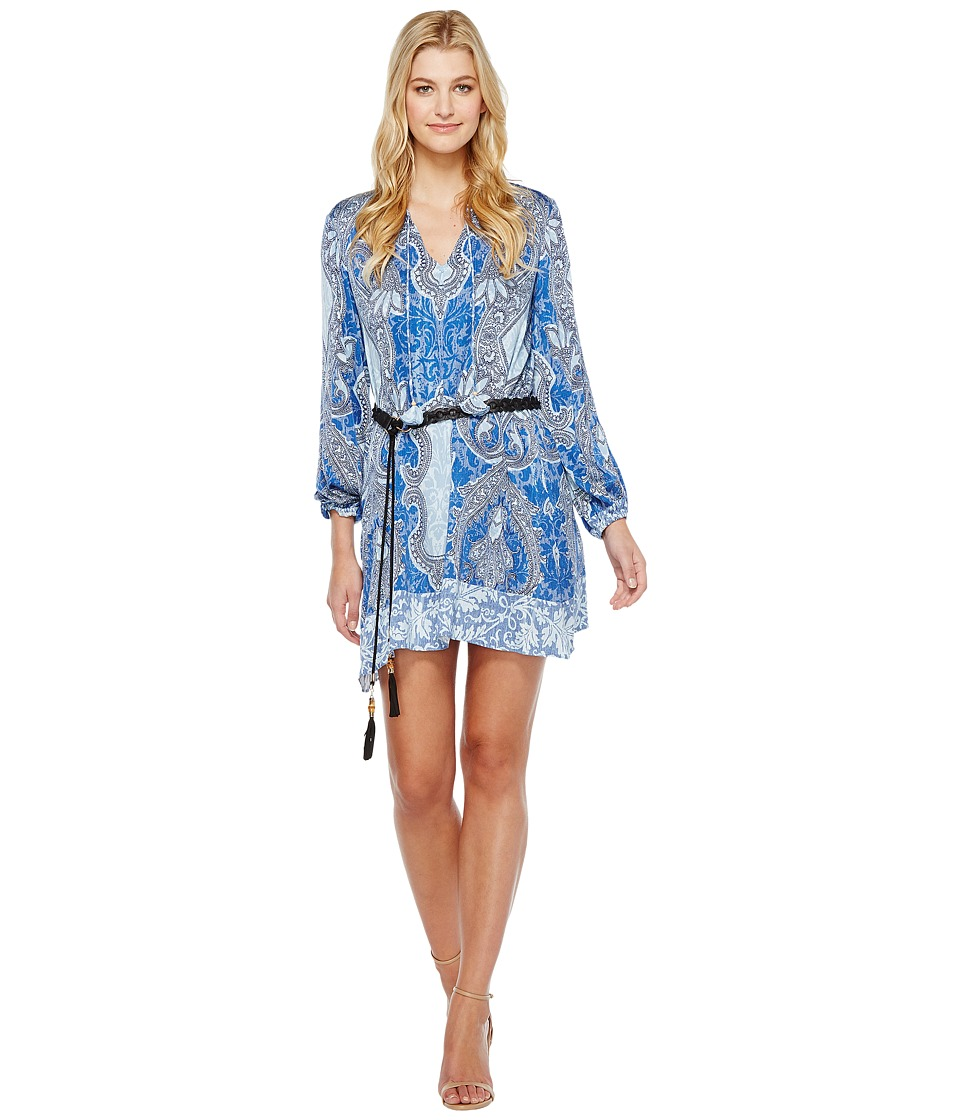 Hale Bob - Sunny Spirit Rayon Stretch Satin Woven Long Sleeve Dress (Blue) Women's Dress