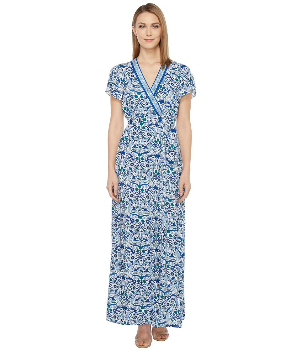 Hale Bob - All Mixed Up Rayon Woven Maxi Wrap Dress (Blue) Women's Dress