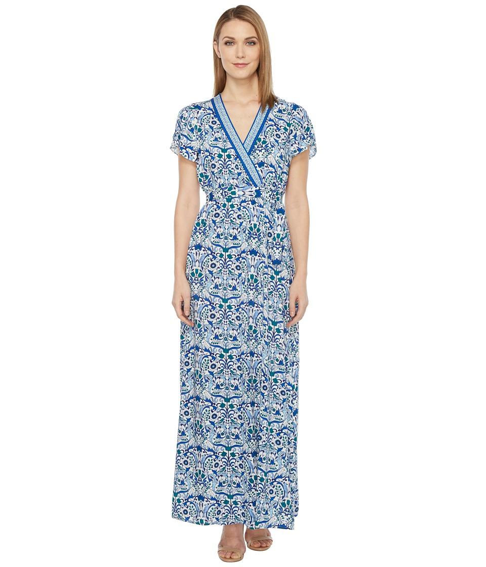 Hale Bob - All Mixed Up Rayon Woven Maxi Wrap Dress (Blue) Women's Dress