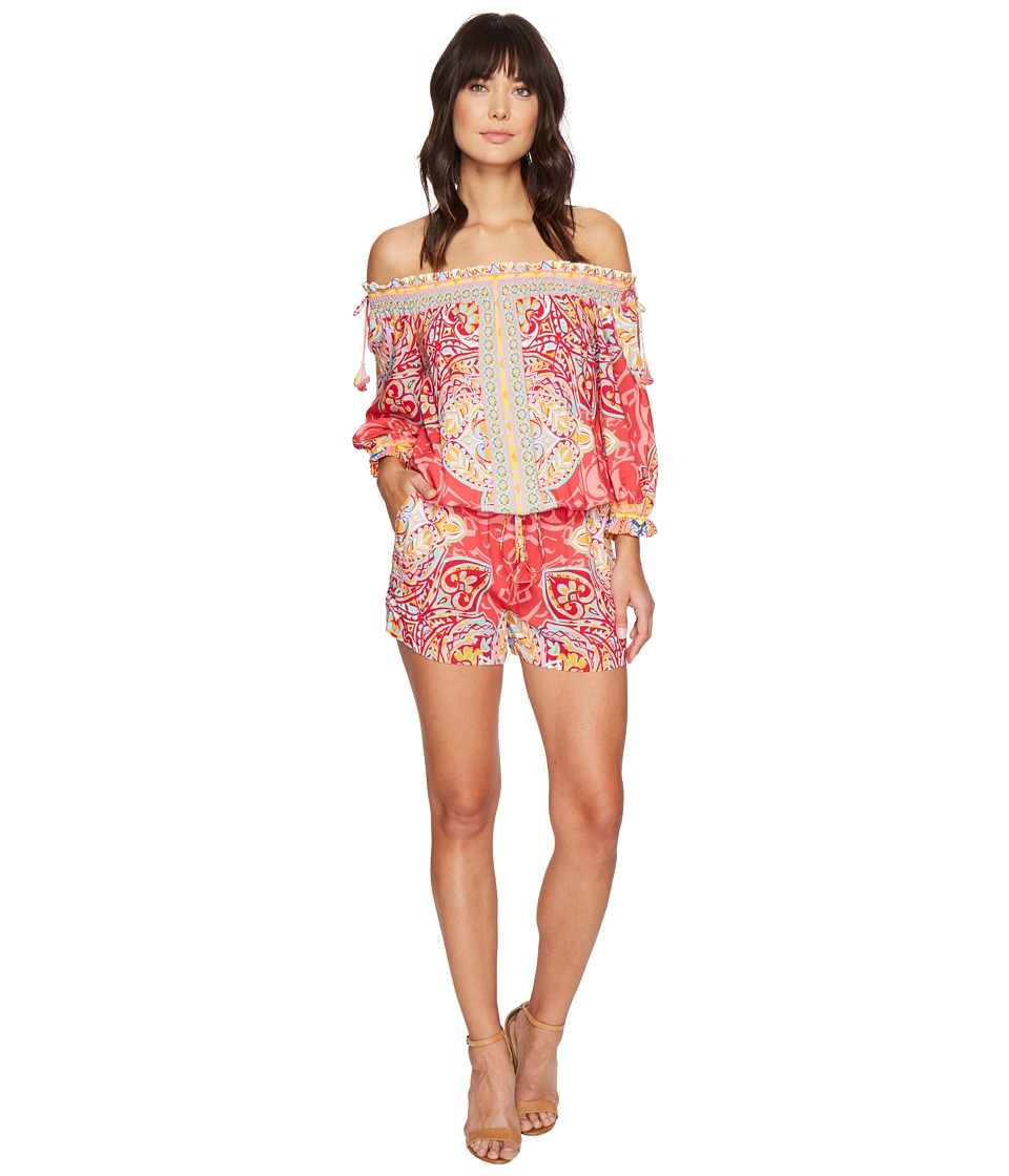 Hale Bob - Golden Age Rayon Woven Romper (Coral) Women's Jumpsuit & Rompers One Piece