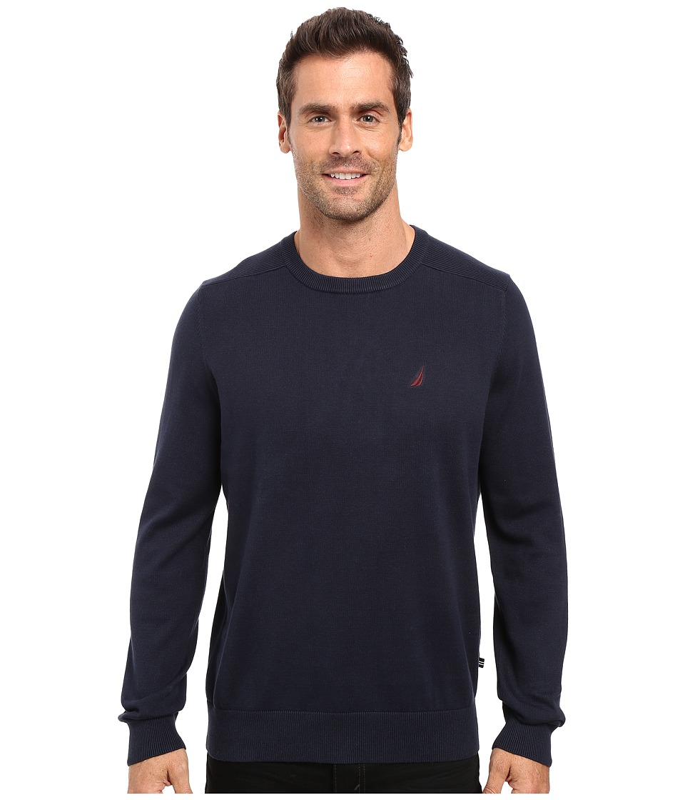Nautica - Solid Crew Neck Sweater (Navy) Men's Sweater
