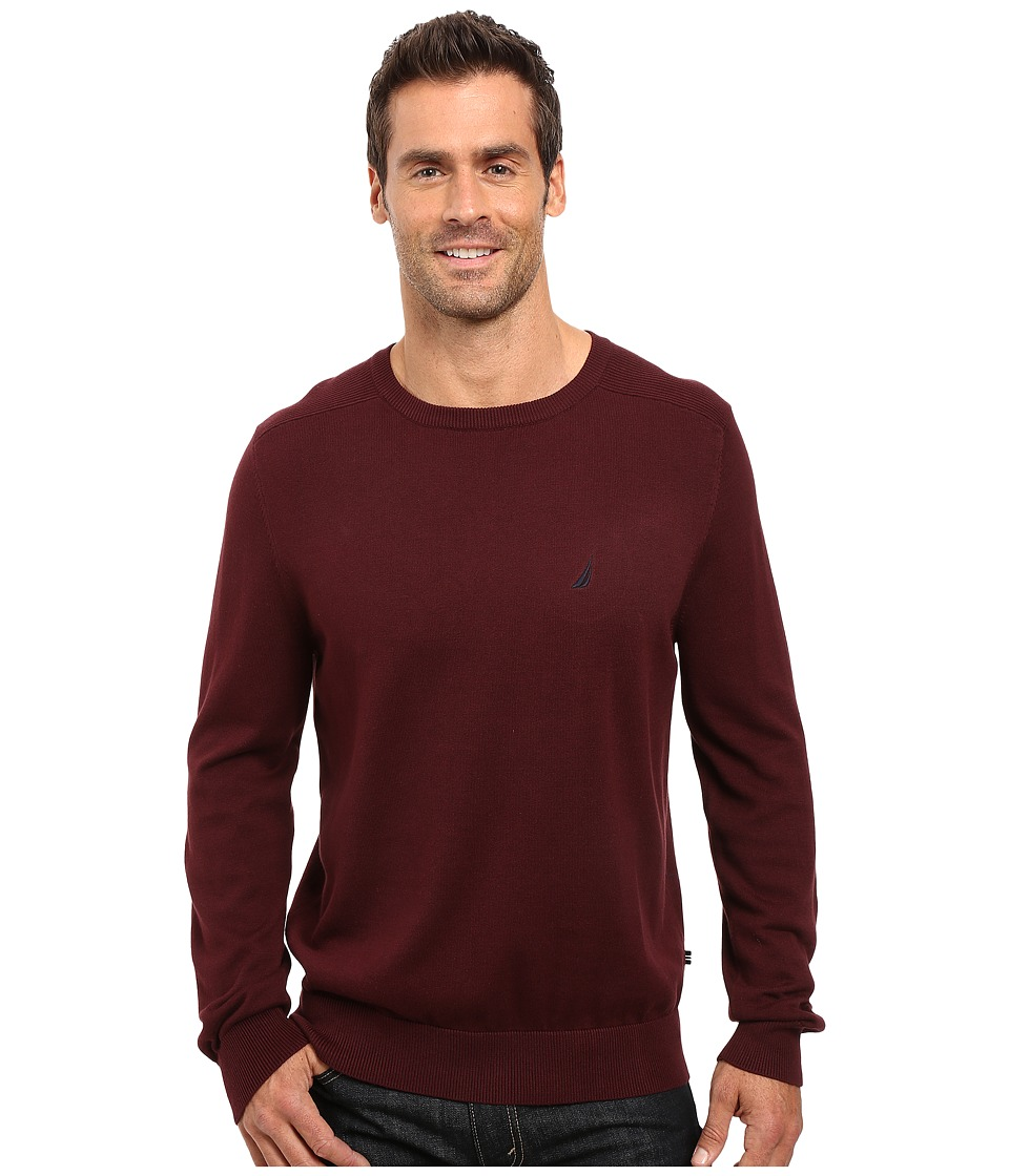Nautica - Solid Crew Neck Sweater (Shipwreck Burgundy) Men's Sweater