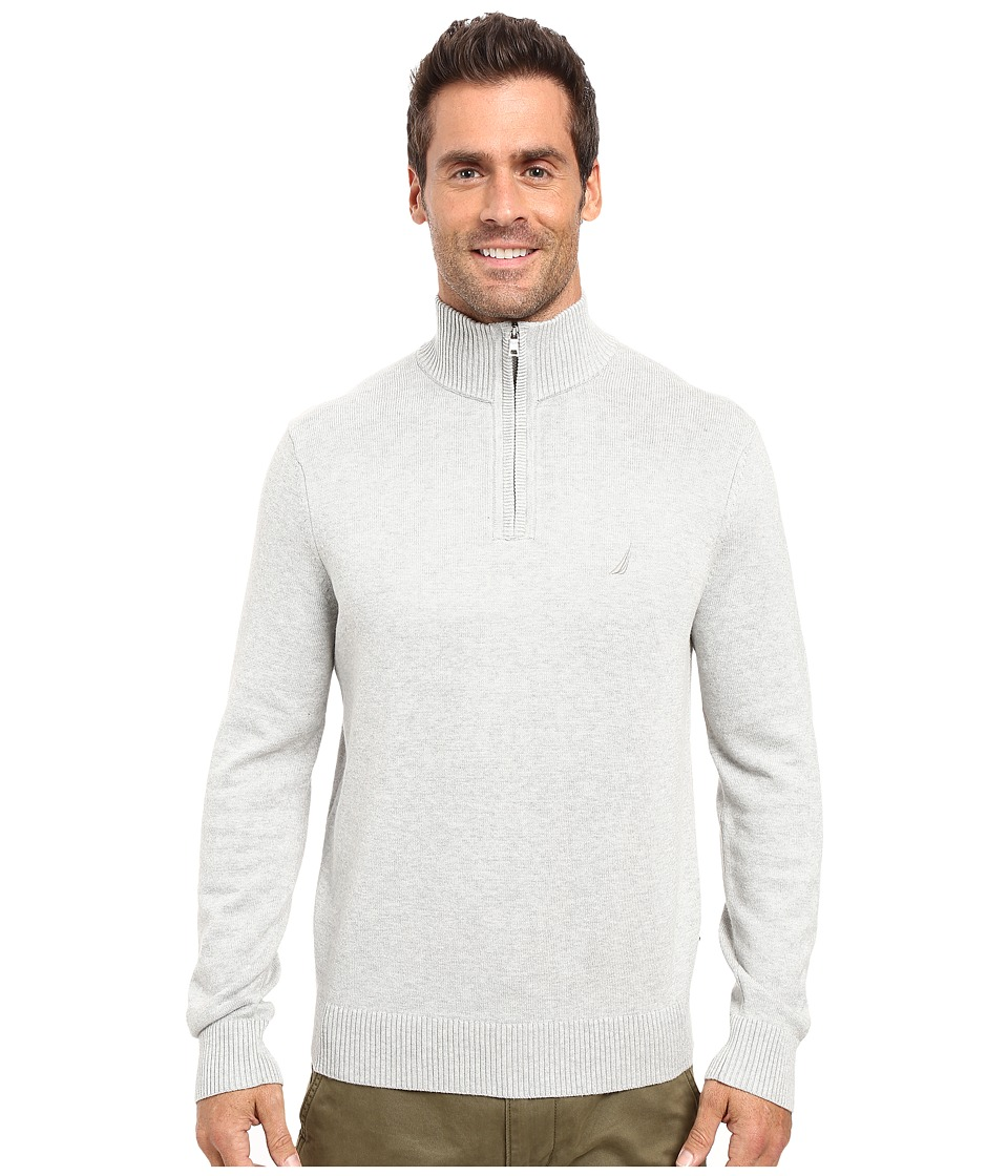 Nautica - 9 Gauge 1/4 Zip Sweater (Grey Heather) Men's Sweater