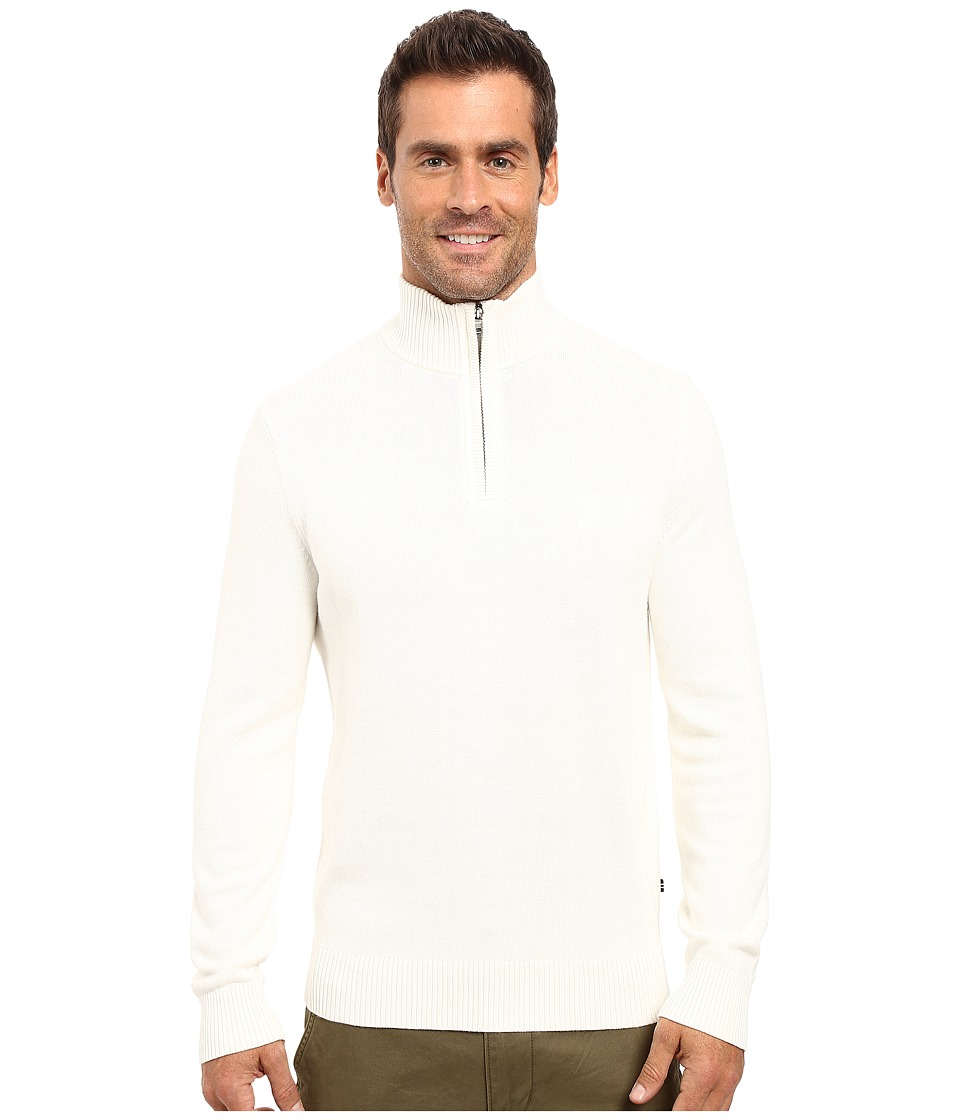 Nautica - 9 Gauge 1/4 Zip Sweater (Marshmallow) Men's Sweater