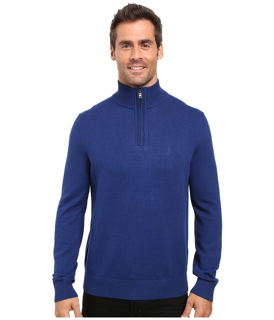 Nautica - 9 Gauge 1/4 Zip Sweater (Estate Blue) Men's Sweater