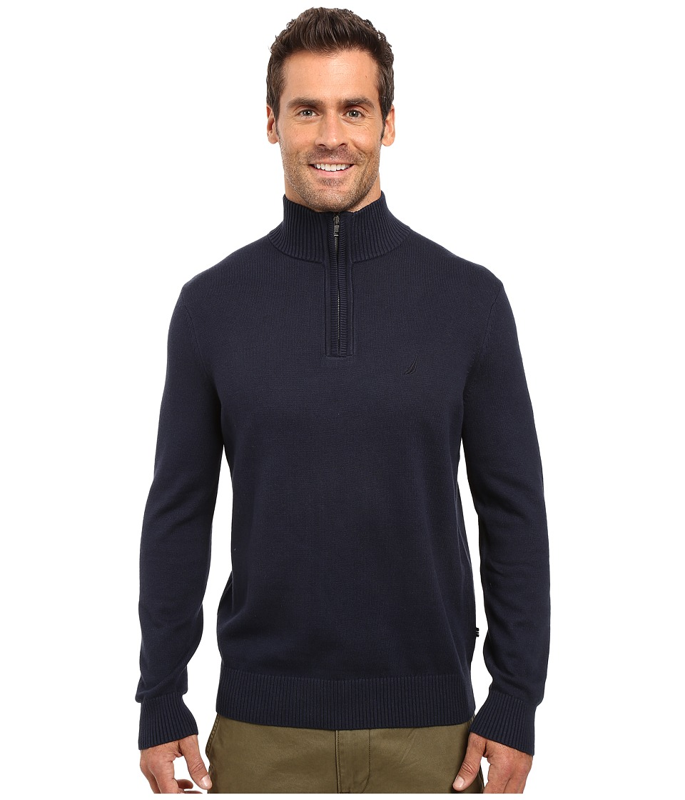 Nautica - 9 Gauge 1/4 Zip Sweater (Navy) Men's Sweater