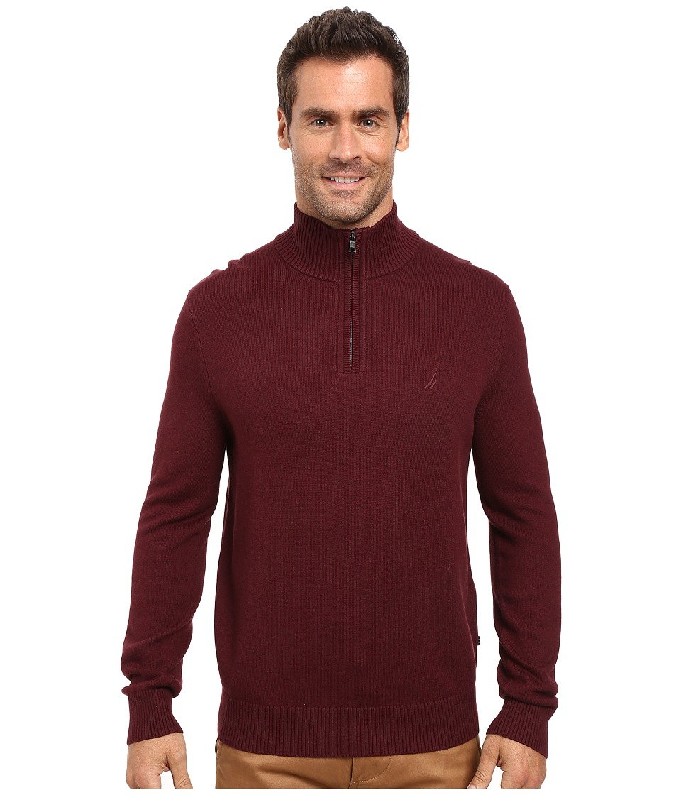 Nautica - 9 Gauge 1/4 Zip Sweater (Shipwreck Burgundy) Men's Sweater