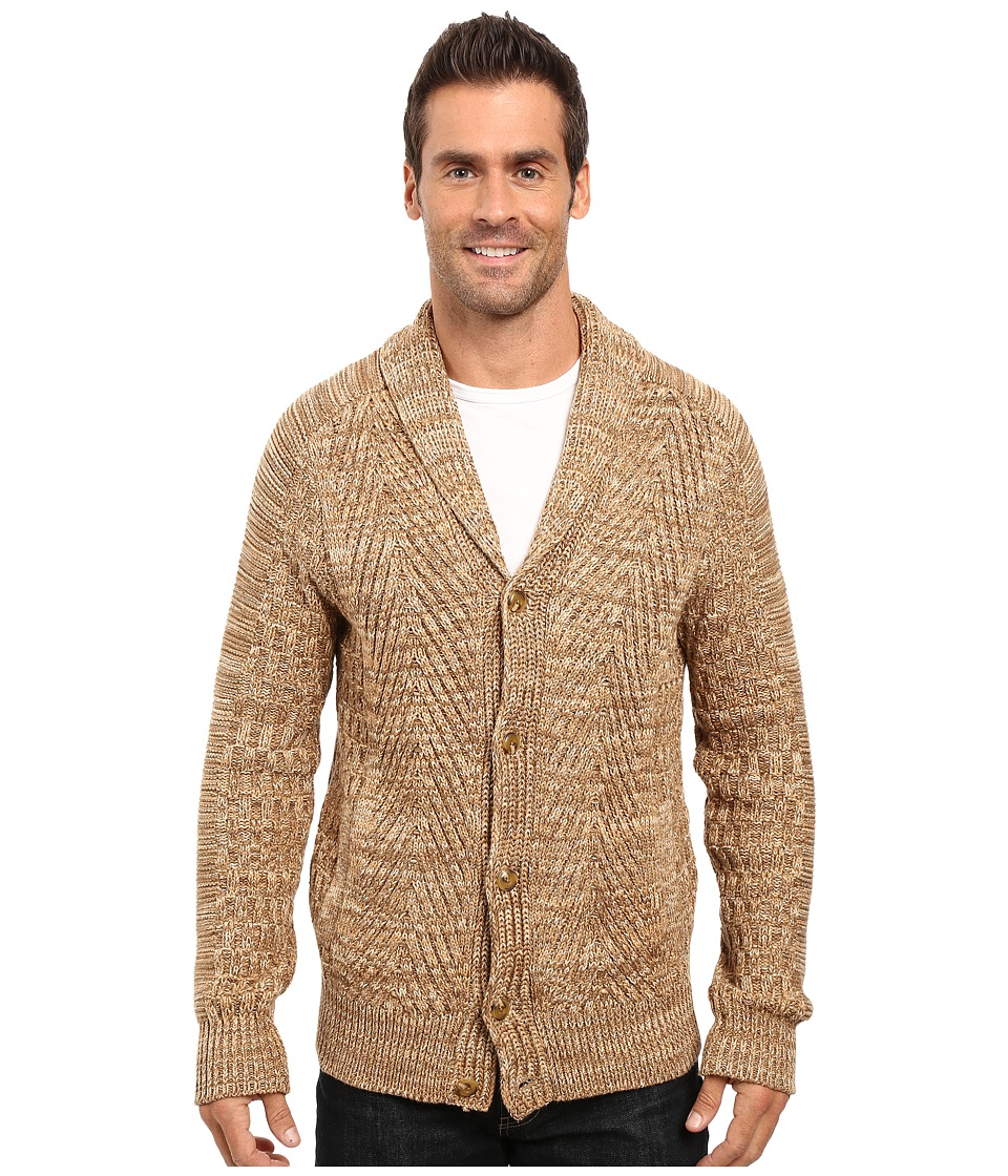 Nautica - 3 Gauge Spine Cable Cardigan (Oyster Brown) Men's Sweater