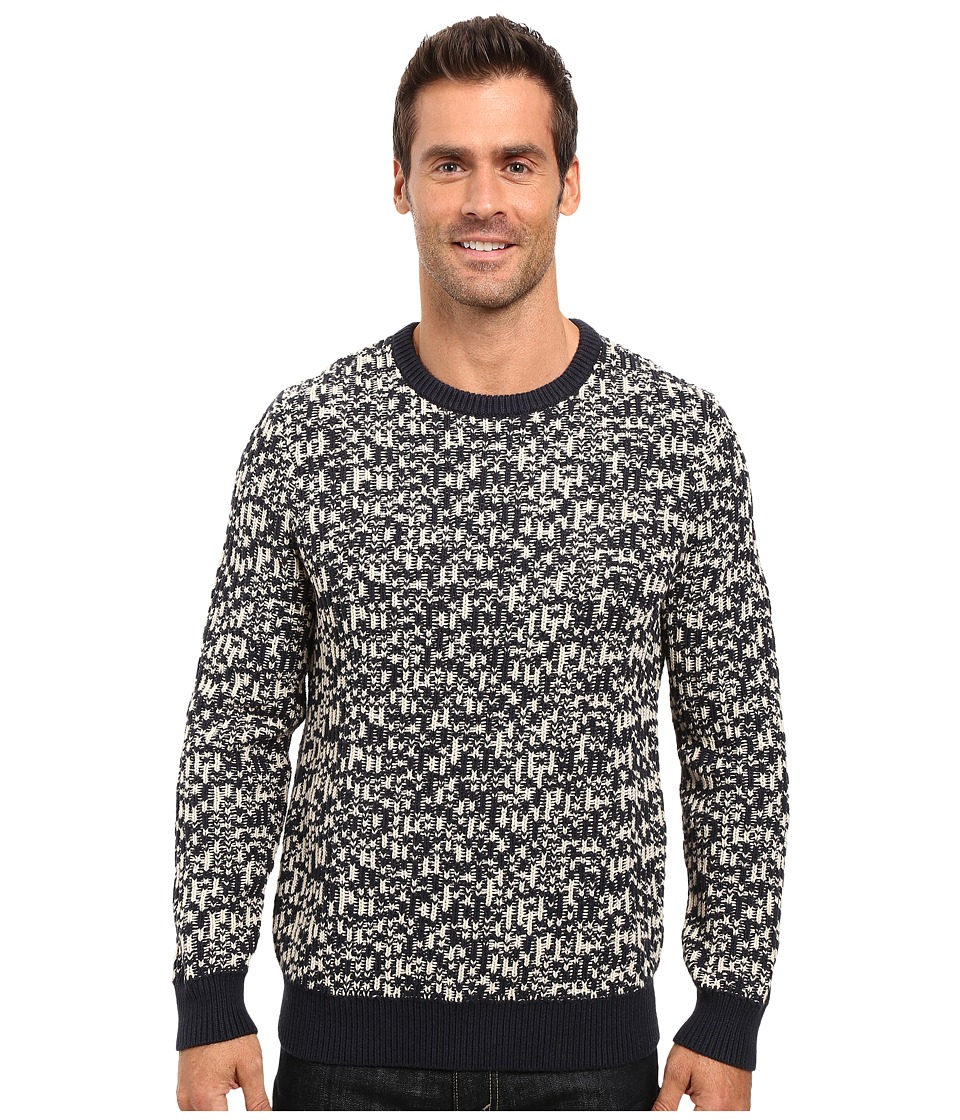 Nautica - 3 Gauge Jacquard Crew Sweater (Navy) Men's Sweater