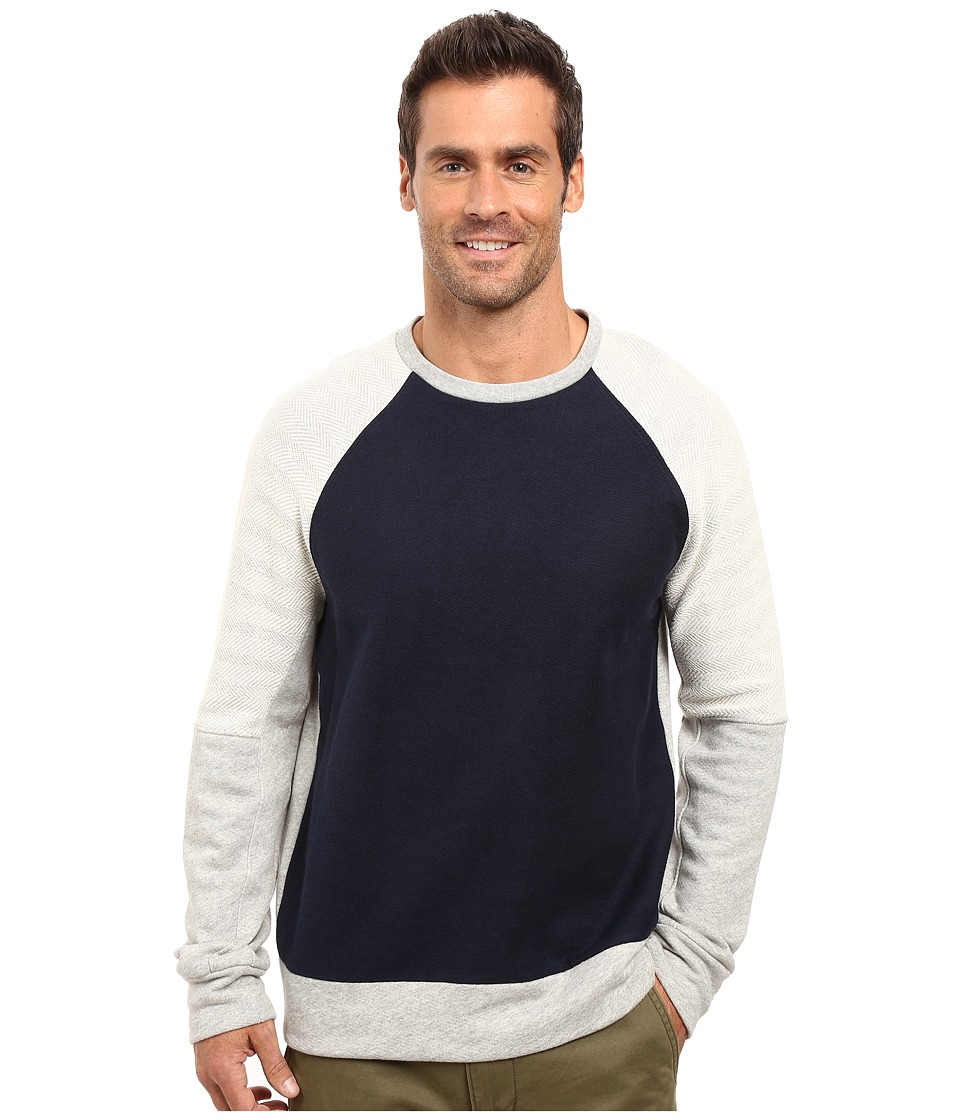 Nautica - Long Sleeve Blocked Crew Knit (Grey Heather) Men's Long Sleeve Pullover