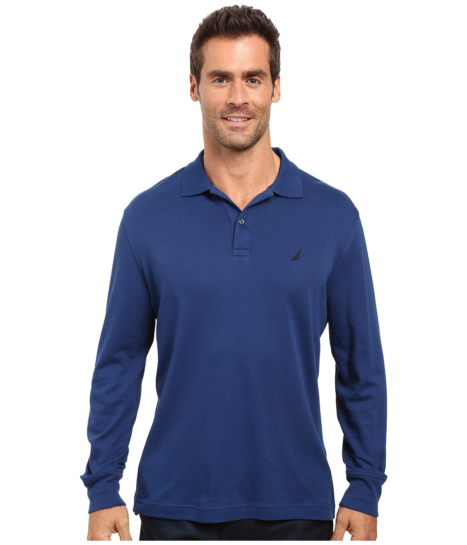 Nautica - Long Sleeve Solid Interlock Polo (Estate Blue) Men's Long Sleeve Pullover