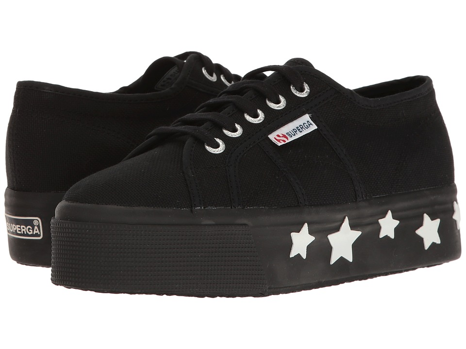 Superga - 2790 Coturbstrarw (Black/White Cotton) Women's Shoes