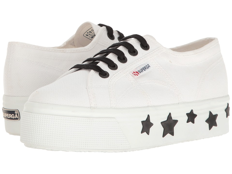 Superga - 2790 Coturbstrarw (White/Black Cotton) Women's Shoes