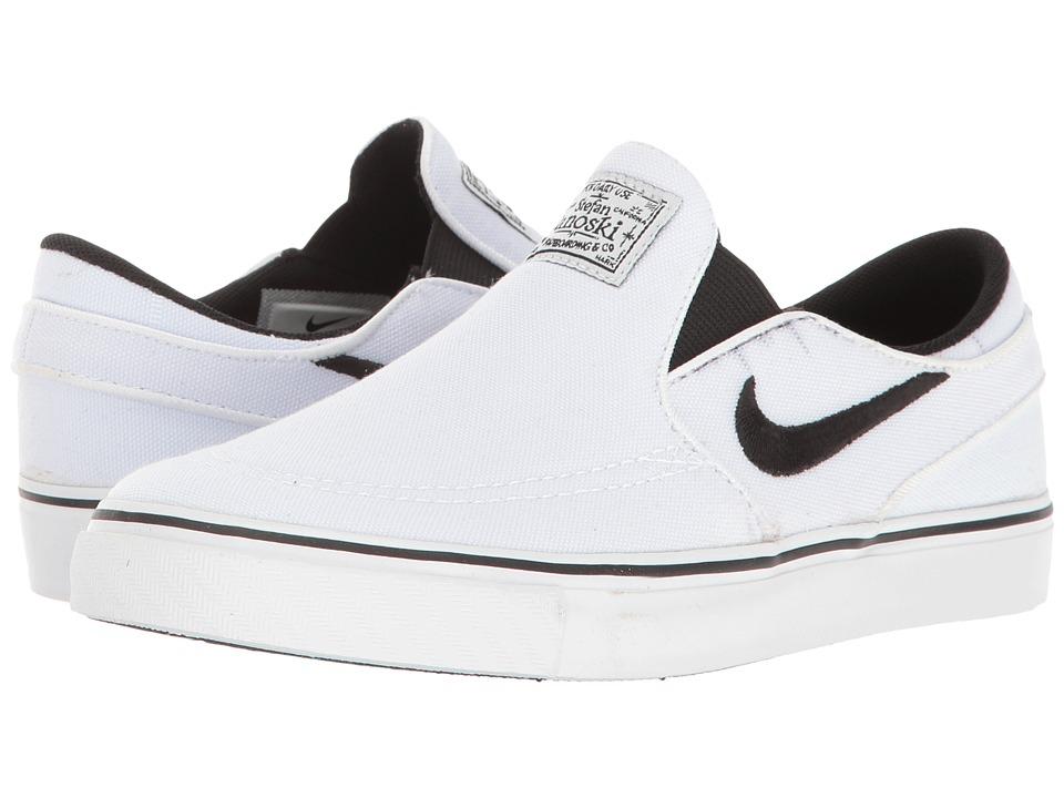 Nike SB Kids Stefan Janoski Canvas Slip (Little Kid) (White/Black) Boy