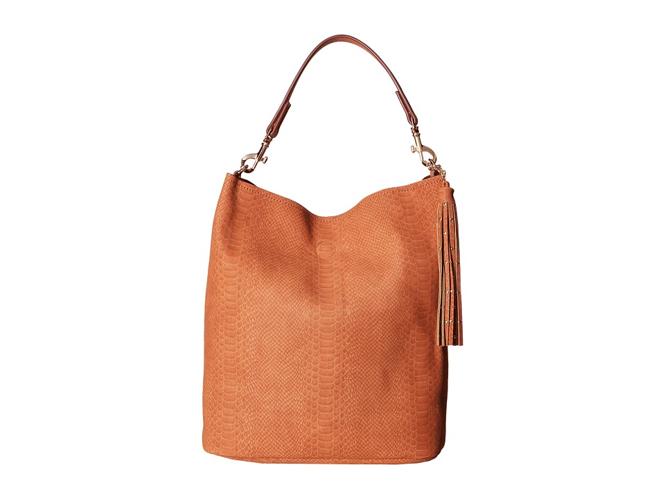 Deux Lux - Sydney Snake Hobo with Tassel (Cognac) Hobo Handbags