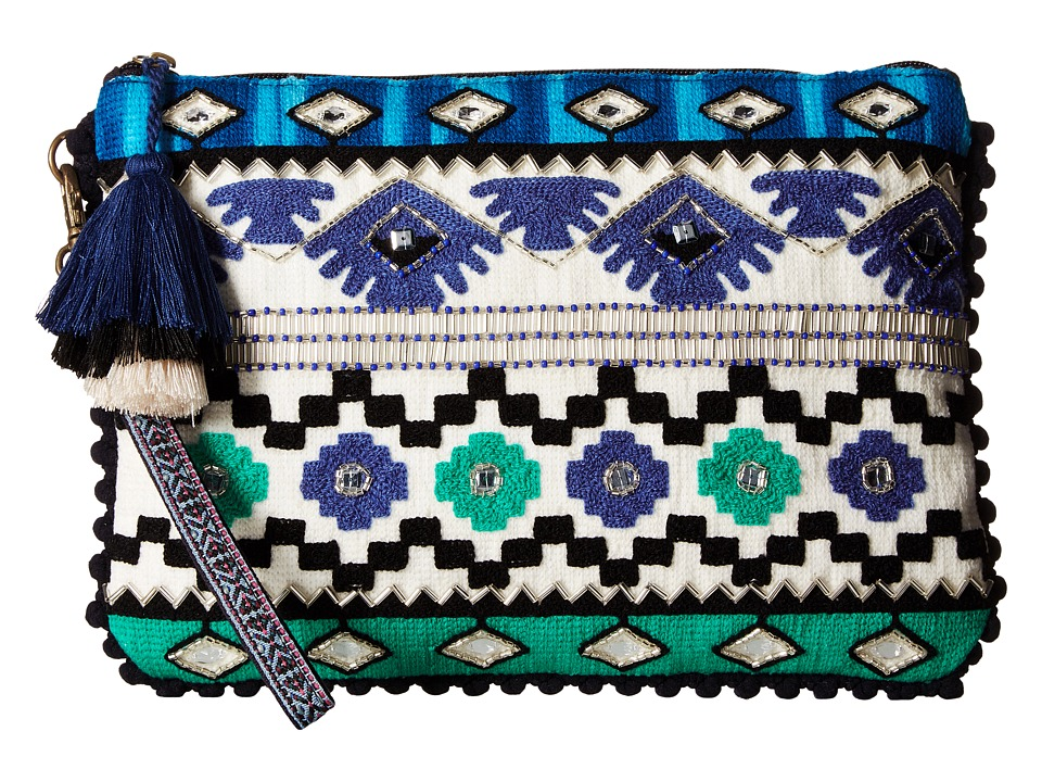 Steven - Arya Embroidered Clutch (Blue) Clutch Handbags