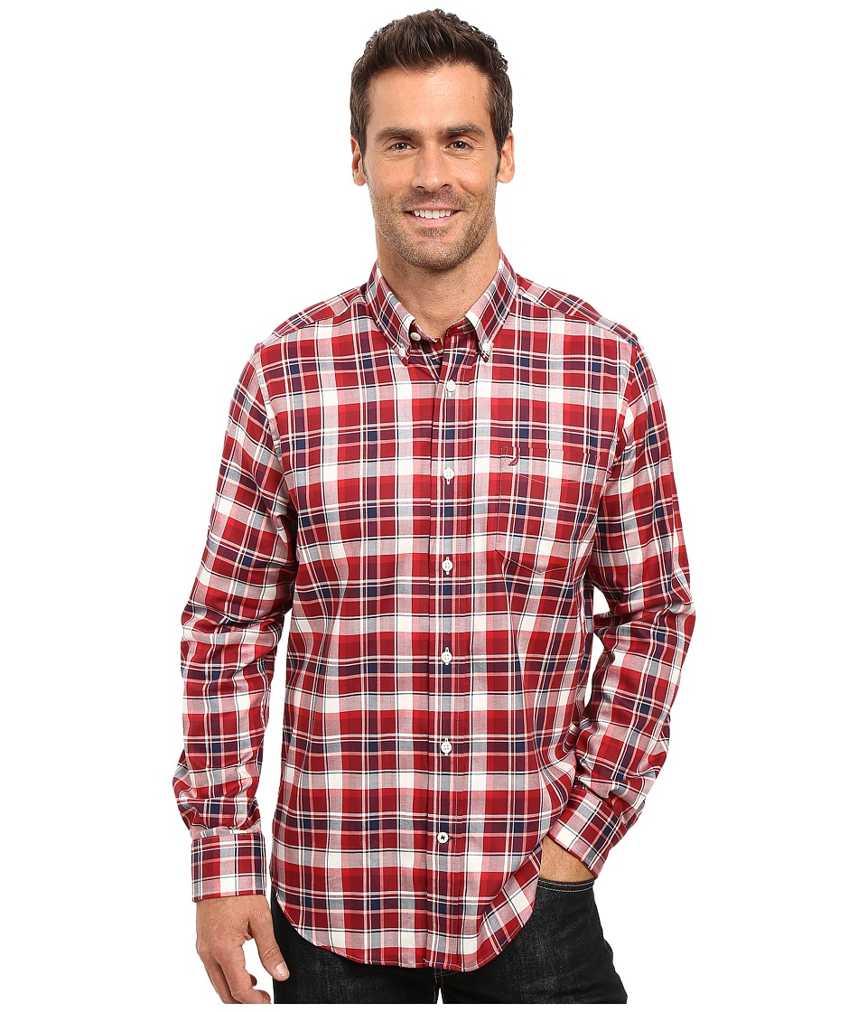 Nautica - Long Sleeve Wrinkle Resistant Plaid Shirt (Autumn Berry) Men's Long Sleeve Button Up