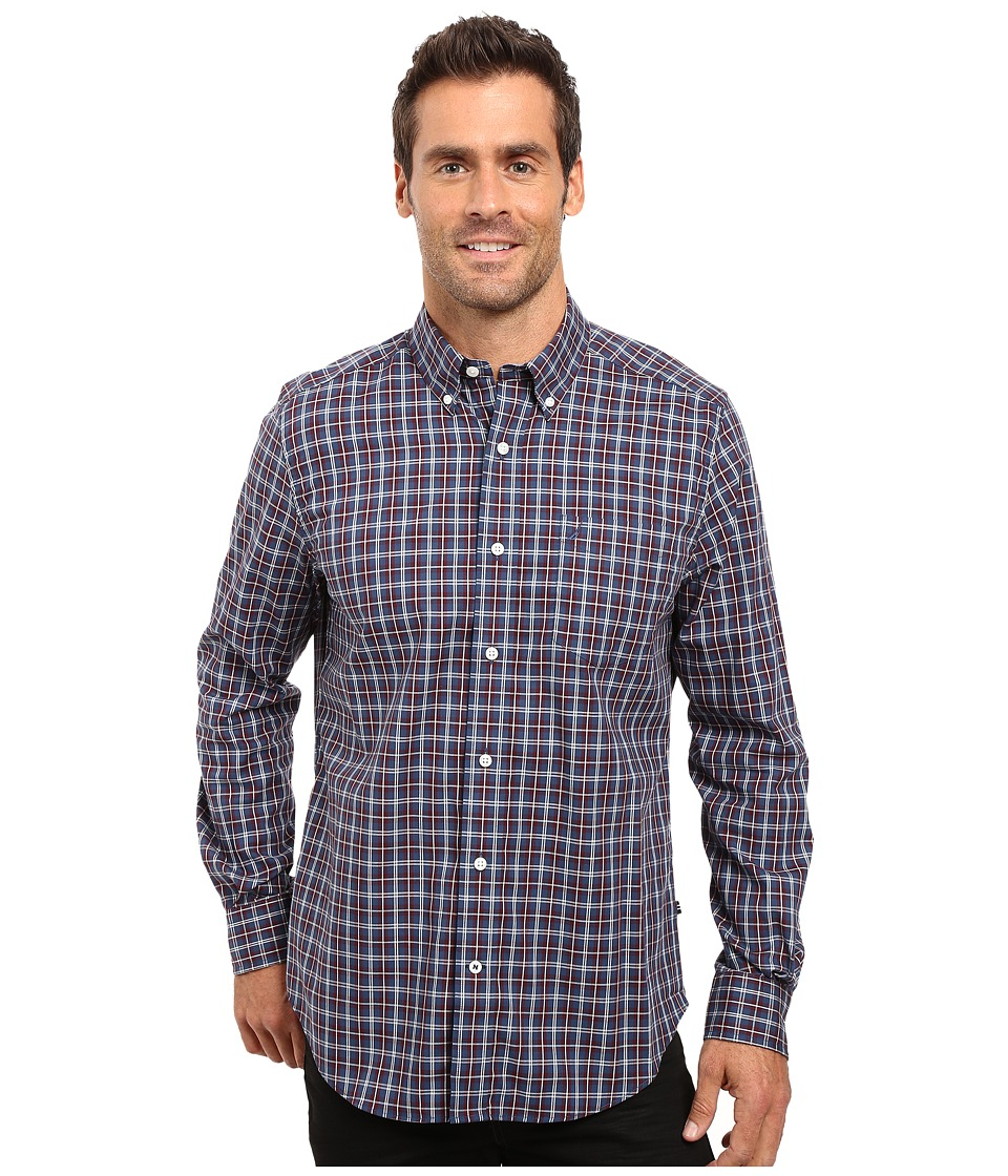 Nautica - Long Sleeve Wrinkle Resistant Small Plaid Shirt (Ensign Blue) Men's Long Sleeve Button Up