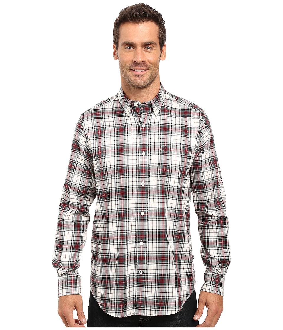 Nautica - Long Sleeve Wrinkle Resistant Plaid Shirt (Lakeside Green) Men's Long Sleeve Button Up