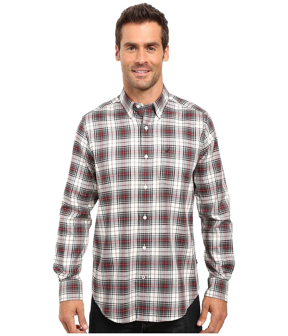 Nautica Long Sleeve Wrinkle Resistant Plaid Shirt (Lakeside Green) Men