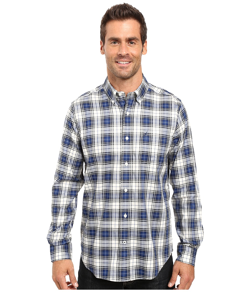Nautica - Long Sleeve Wrinkle Resistant Plaid Shirt (Estate Blue) Men's Long Sleeve Button Up