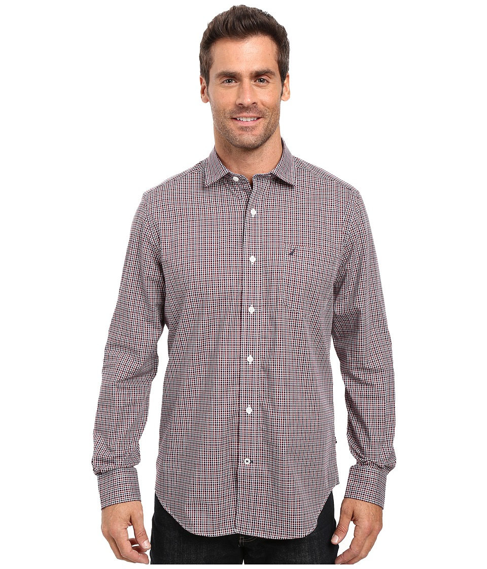 Nautica - Long Sleeve Wrinkle Resistant Small Check Shirt (Biking Red) Men's Long Sleeve Button Up