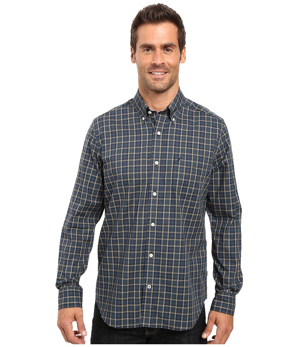 Nautica - Long Sleeve Wrinkle Resistant Medium Plaid Shirt (Marine Blue) Men's Long Sleeve Button Up