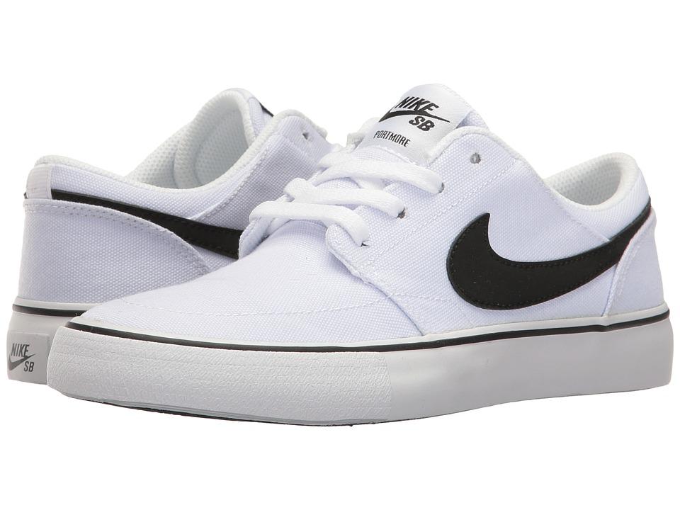 Nike SB Kids - Portmore II Canvas (Big Kid) (White/Black) Boy's Shoes