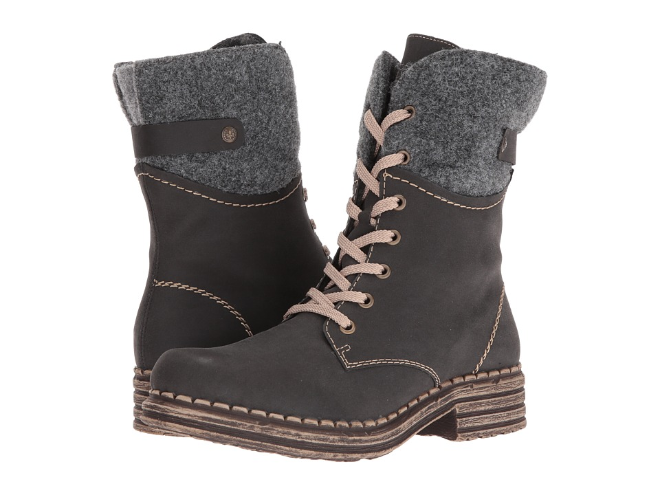 Rieker - Y9604 (Schwarz/Granit/Grau Burlington/Filz/Felt) Women's Boots
