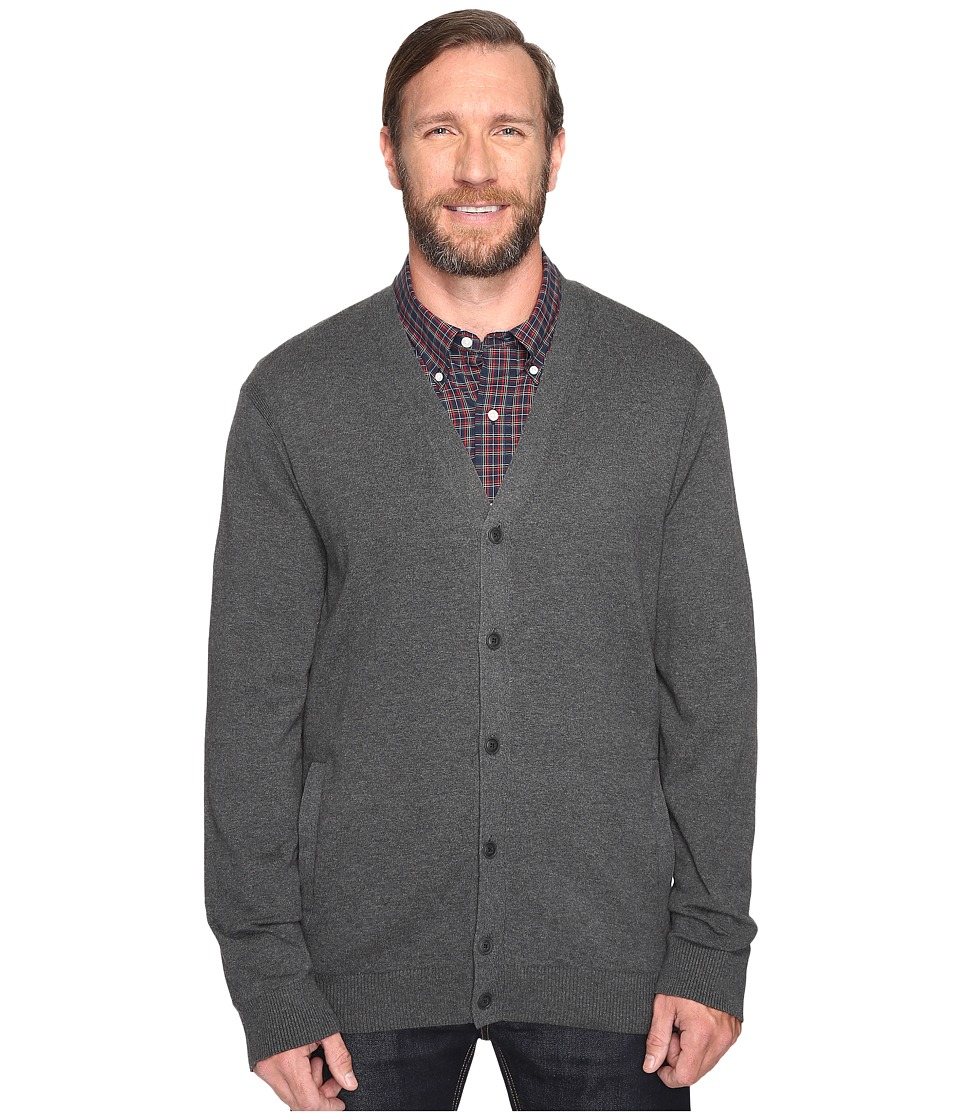 Nautica Big & Tall - Big Tall Jersey Cardigan (Charcoal Heather) Men's Sweater