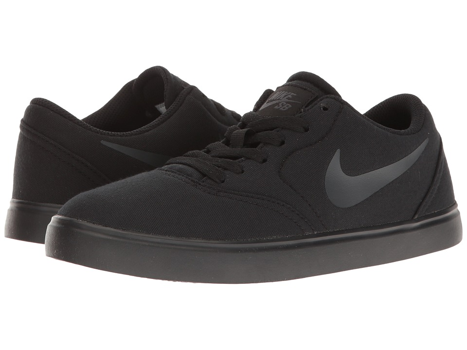 Nike SB Kids - Check Canvas (Big Kid) (Black/Anthracite) Boys Shoes