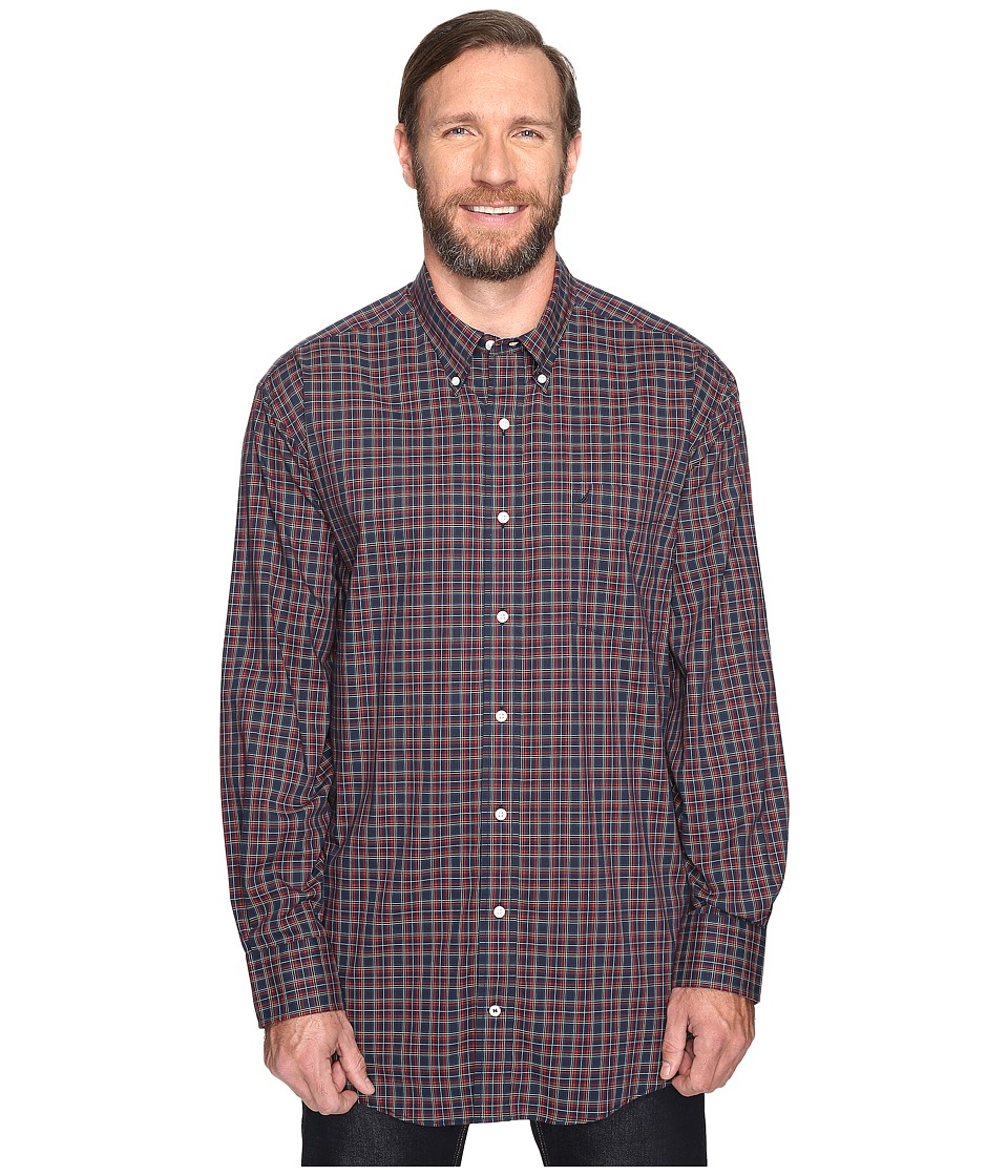 Nautica Big & Tall - Big Tall Long Sleeve Wrinkle Resistant Plaid (Navy) Men's Clothing