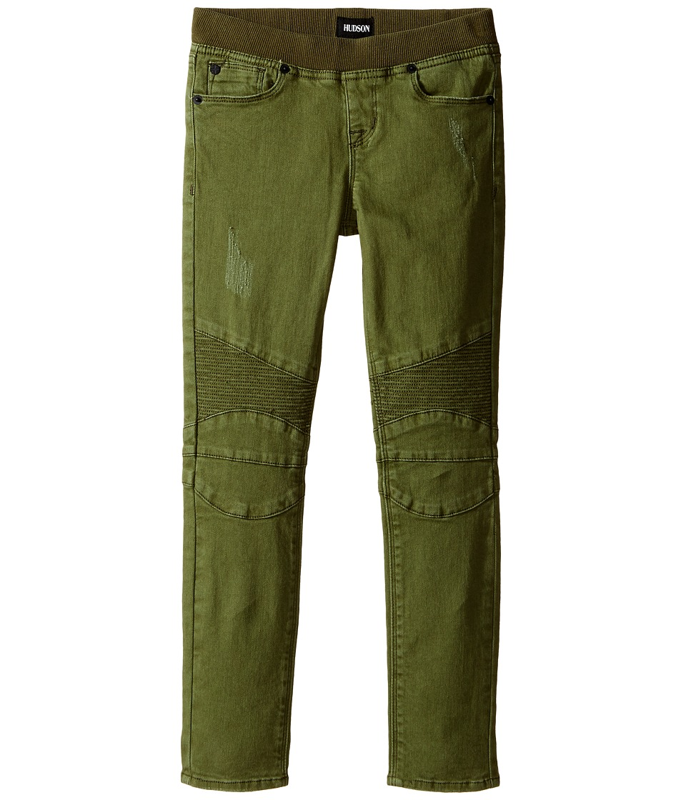 Hudson Kids - Skinny Moto with Light Destruction Jeans in Olivine (Toddler/Little Kids) (Olivine) Girl's Jeans