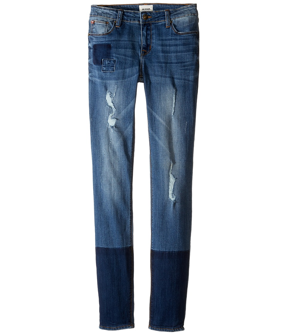 Hudson Kids - Five-Pocket Skinny with Patchwork and Destruction Jeans in Faze Blue (Big Kids) (Faze Blue) Girl's Jeans