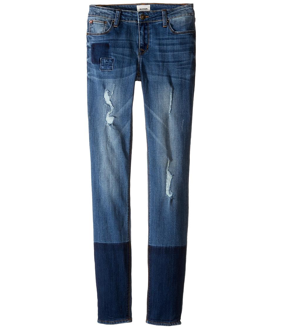 Hudson Kids - Five-Pocket Skinny with Patchwork and Destruction Jeans in Faze Blue (Big Kids) (Faze Blue) Girl's Jeans
