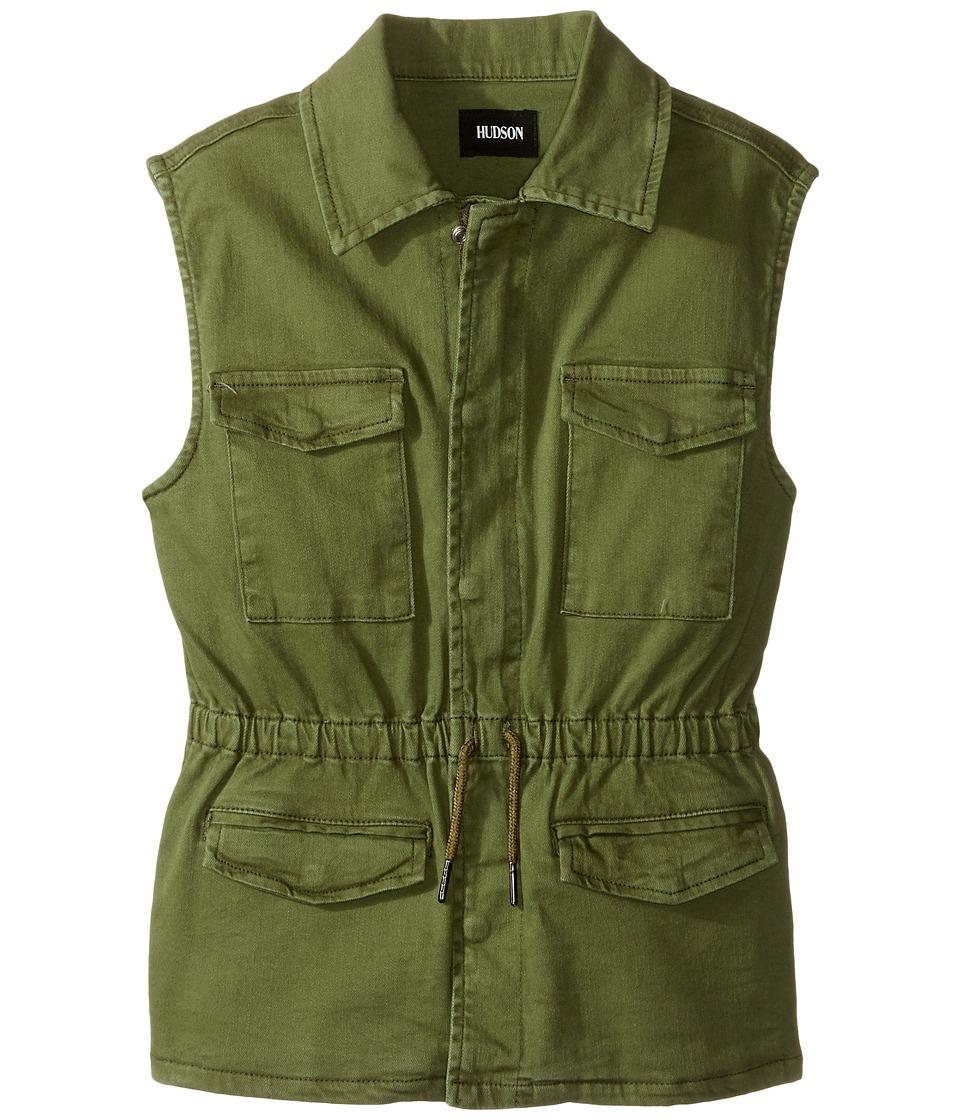 Hudson Kids - Twill Utility Vest with Embroidery (Big Kids) (Olivine) Girl's Vest