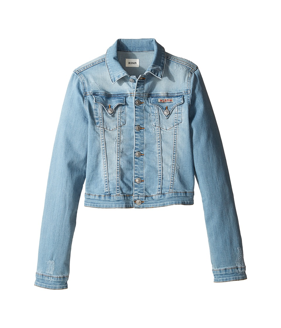 Hudson Kids - Denim Jacket with Applique Banner and Embroidery (Big Kids) (Light Stone Wash) Girl's Coat