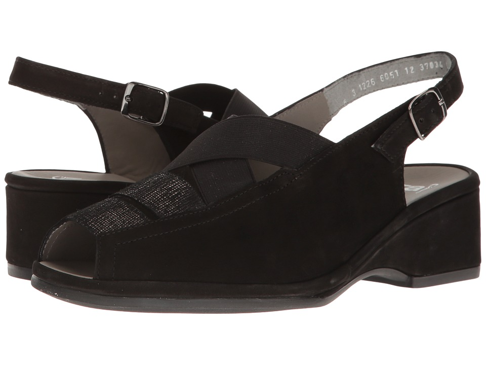 ara - Rumor (Black Combo) Women's Wedge Shoes