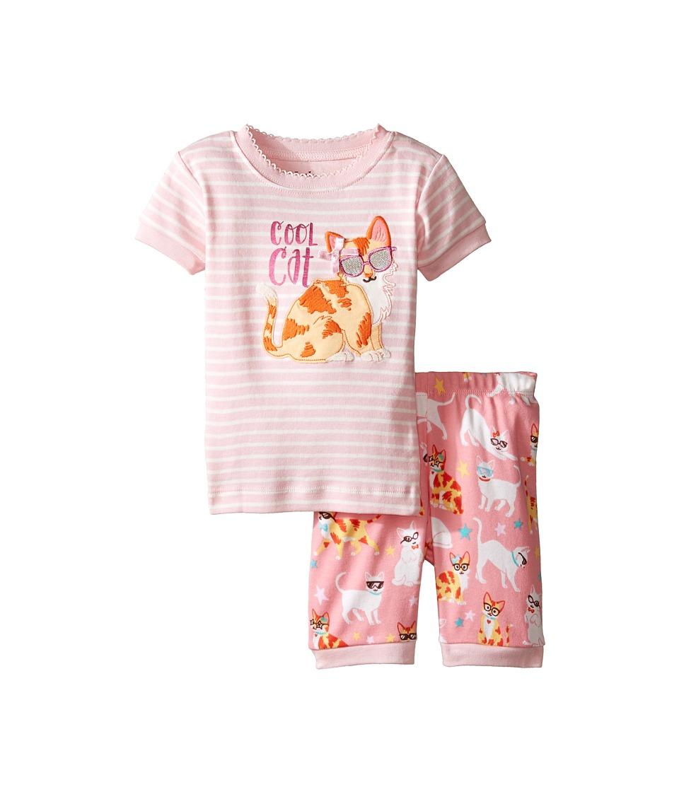 Hatley Kids - Cool Cats Short Pajama Set (Toddler/Little Kids/Big Kids) (Pink) Girl's Pajama Sets