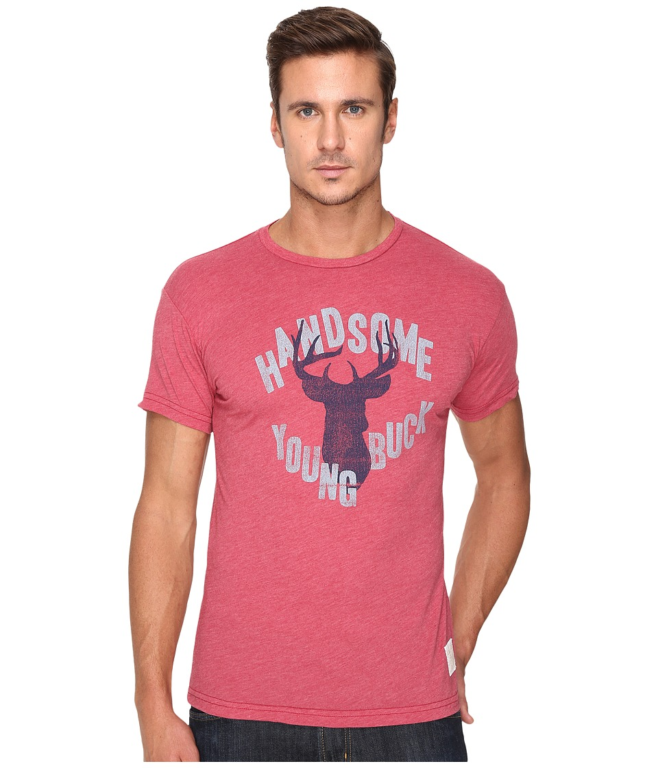 The Original Retro Brand - Handsome Young Buck Short Sleeve Heather Tee (Heather Dark Red) Men's T Shirt