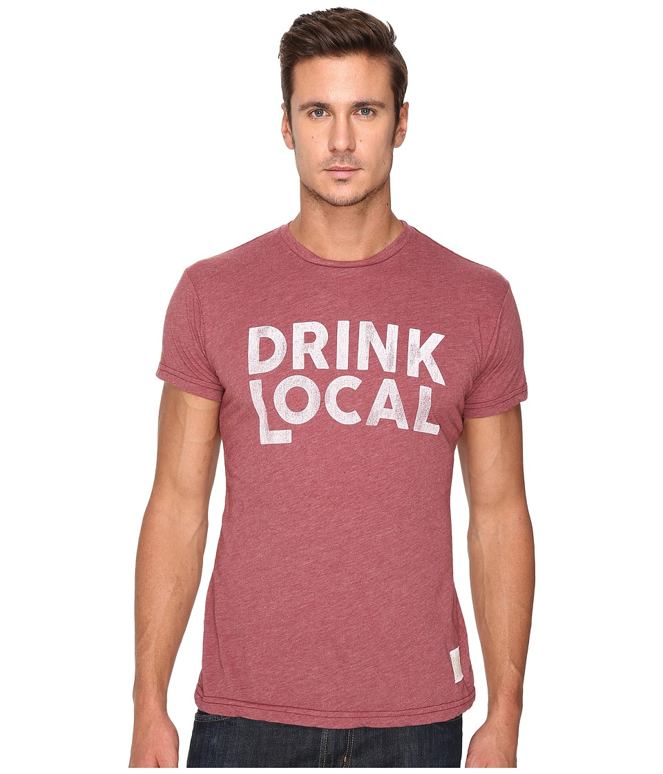 The Original Retro Brand - Heather Short Sleeve Drink Local Tee (Heather Burgundy) Men's T Shirt